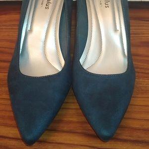 Dark teal suede heels